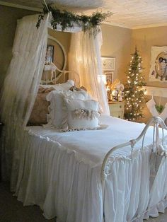 Cozy bedroom - a little too white but love the Christmas Tree