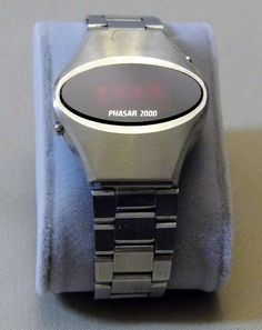 Vintage Phasar 2000 Men's Electronic LED Watch, Red Face, Sold by Sears, Roebuck and Co., Made in Japan, Circa 1970s.