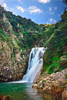 Waterfall at Polylimnio,Messinia,Peloponnese Places Around The World, Oh The Places You'll Go, Places To Travel, Places To Visit, Around The Worlds, Beautiful Waterfalls, Beautiful Beaches, Greece Travel, Greek Islands