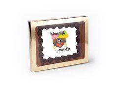 Chocolade Wenskaart 'N Heerlijk Avondje. Stuur uw persoonlijke pieten boodschap in chocolade. Gemaakt met top-kwaliteit Belgische chocolade van Callebaut. #chocolade #belgischechocolade #sinterklaas #zwartepiet #piet #5december