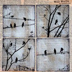 Vögel auf einem Draht handgemachte Glas Wand-Dekor aus