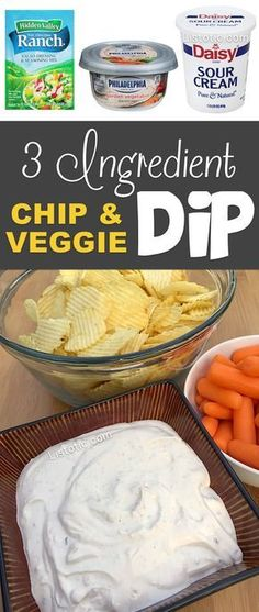 Super easy, 3 ingredient chip and veggie dip for parties! A real crowd pleaser!