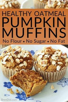 No Flour Sugar Free Oil Free Dairy Free Healthy Pumpkin Muffins Recipe - Love pumpkin baked goods but hate junk food? These healthy pumpkin muffins are tasty and guilt free (gluten free sugar free oil free & dairy free)! Pumpkin Oatmeal Muffins, Pumpkin Muffin Recipes, Baked Pumpkin, Healthy Pumpkin Muffins, Healthy Pumpkin Recipes, Clean Eating Pumpkin Muffins, Gluten Free Pumpkin Bread, Healthy Muffin Recipes, Pumpkin Recipes Sugar Free