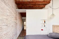 Completed in 2015 in Barcelona, Spain. Images by José Hevia Blach. The project consists in the refurbishment of an existing old flat from the Eixample of Barcelona, transforming it through the elimination of the long. Menorca, Barcelona Apartment, Mini Loft, Micro Apartment, Interior Architecture, Interior Design, Spanish House, Living Spaces, Furniture Design