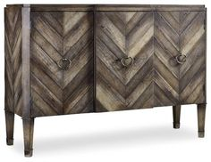 Shop for Hooker Furniture Chevron Console, and other Living Room Cabinets at Union Furniture in Union,Missouri. Birch, pine and oak veneers combine to create multiple tones of soft gray in a sophisticated menswear chevron pattern. Hall Console Table, Dining Room Hutch, Living Room Cabinets, Dining Room Furniture, Dining Area, Console Cabinet, Dining Rooms, Hooker Furniture, Cabinet Furniture