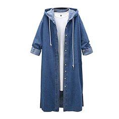 Vintage Blue Hooded Denim Trench Coat Women 2018 Winter Fashion Jeans Long Coats Long Sleeve Plus Size Outwear Clothes Denim Trench Coat, Maxi Coat, Trench Coats, Denim Maxi, Coats For Women, Jackets For Women, Long Denim Jacket, Denim Jackets, A Boutique