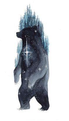 A selection of stunning watercolor galaxy animal paintings by Switzerland-based artist Déborah Maradan, known as ThreeLeaves. Fuchs Illustration, Art And Illustration, Animal Drawings, Art Drawings, Art D'ours, Galaxy Cat, Bear Drawing, Bear Art, Animal Tattoos