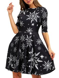 Christmas Snowflake Print Fit and Flare Dress 94df06f87885