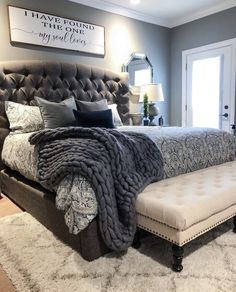 ✔ 38 Attractive Bedroom Furniture Master Head Boards for Cozy Bedroom Ideas Cozy Bedroom, Dream Bedroom, Home Decor Bedroom, Bedroom Furniture, Trendy Bedroom, Master Bedroom Decorating Ideas, Fall Bedroom, King Bedroom Sets, Grey Home Decor