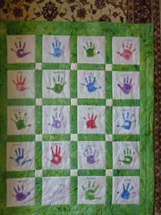 One of the three hand-print quilts I made for the pre-k teachers at our school.