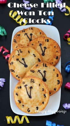 Cheese Filled Fried Won Ton Clocks for New Year's Eve | HungryHappenings.com