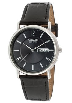 Citizen Black Dial with Leather Watch http://www.edivewatches.com/product/citizen-black-dial-watch-with-genuine-leather/