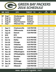 Green Bay Packers Games Schedule 2016. The official Space of the NFL 2016 Green Bay Packers Schedule with opponents, dates, times and TV network. The scheduling for the Green Bay Packers games will be displayed on the website. Also get the full Green Bay Packers team schedule on NFL.com, ESPN.com, fbschedules.com, NBC, foxsports.com and other.