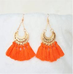 Orange Tassel Earrings Gold tone Metal Hoop, Dangle Drop Earring, Hoop Earrings, Bohemian Jewelry, Statement Earrings, Beach Earrings