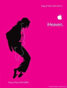 Michael Jackson Steve Jobs Tribute Ad design for ipod - iHeaven by: Bryan Brunsell