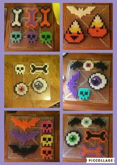 Halloween Themed Perler Beads by on DeviantArt manualidades plantillas Halloween Themed Perler Beads by CrimsonsCreations on DeviantArt Perler Bead Designs, Perler Bead Templates, Hama Beads Design, Diy Perler Beads, Perler Bead Art, Pearler Beads, Melty Bead Patterns, Pearler Bead Patterns, Perler Patterns