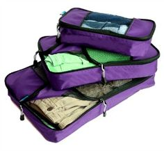TravelWise Packing Cubes – 3 Piece Set (Purple)