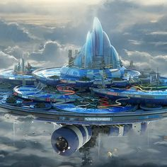 Sci Fi City Floating Island Cloud Aircraft Futuristic Wallpaper Source by Fantasy City, Sci Fi Fantasy, Fantasy World, Sci Fi Wallpaper, Graphic Wallpaper, Futuristic City, Futuristic Architecture, Sci Fi Stadt, Big Swimming Pools