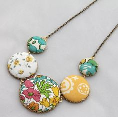 """Boho Chic fabric button necklace- """"Spring""""-antique bronze chain- Liberty of London"""