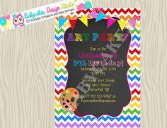 Art Party Invitation Birthday Arts and Crafts by jcbabycakes