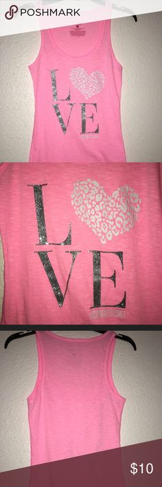 """Victoria's Secret pink tank, size M Cute Victoria's Secret Pink tank top, size M. It says """"Love"""" on the front and the letters are glittery with a white heart. PINK Victoria's Secret Tops Tank Tops"""