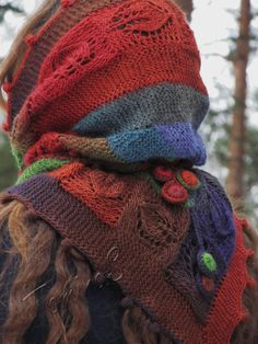 """I is autumn""  (knitted shawl, wrap, knitting, entrelac)"