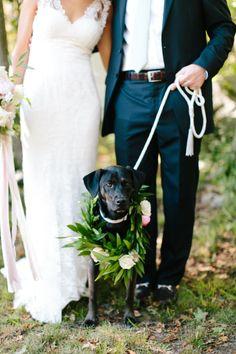 Bride, groom and flower pup! http://www.stylemepretty.com/massachusetts-weddings/gloucester/2016/02/19/rustic-elegant-sharksmouth-estate-summer-wedding/ | Photography: Hello Love - http://hellolovephoto.com/