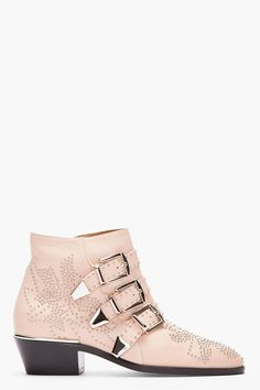 CHLOE Nude pink studded Suzanna Boots