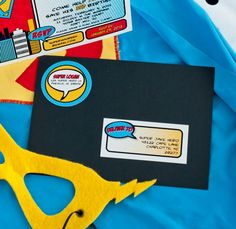 Vintage super hero birthday party invitation and EDITABLE TO address labels printables by Anders Ruff