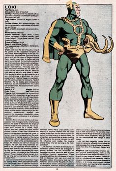 Loki - The Official Handbook of the Marvel Universe Issue - Read The Official Handbook of the Marvel Universe Issue comic online in high quality Marvel Comic Character, Comic Book Characters, Marvel Characters, Comic Books Art, Character Bio, Marvel Comics Superheroes, Marvel Vs, Marvel Heroes, Dc Comics