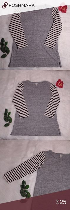 J. Crew Stripe-Sleeve T-Shirt XXS 100% Cotton. Size XXS. Three-quarter sleeves. Open to Offers :)   *A0023 J. Crew Tops Tees - Long Sleeve