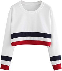 HWTOP Damen Oberteil Hemd Löcher Pullover Sport Hoodies Bauchfrei Streifen  Kleidung Kapuzen Weiß Cropped Sweatshirt Langarmshirt 93d9921bd0