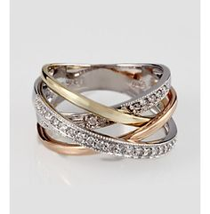 Love this ring! Effy® 14K Tricolor Gold and .31 ct. t.w. Diamond Crisscross Ring at www.younkers.com