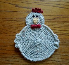 Crochet Country Kitchen  CHICKEN POT HOLDER/Hot Pad by CanyonRiver, $10.00