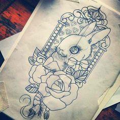 Guen Douglas, Tattoo, Tattoo Inspiration, Tattoo Design, Tattoos, Design, Art, Sketch. Roses, Rabbit