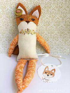 Hand Embroidered woodland animal Fox doll Fey by littledear on Etsy