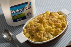 You can feel good about serving your family mac & cheese when you add cauliflower and use DairyPure milk!