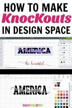 How To Make Knockout Designs in Cricut Design Space Learn How To Make Knockout Designs in Cricut Design Space. Learn how to put text in text and how to add images to text. Plus I even show you how to layer the knockouts with adhesive vinyl.