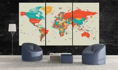 Large World Map Canvas Wall Art Modern Retro by CanvasFactoryCo