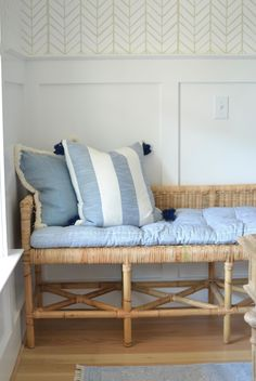 Wallpaper Furniture, Office Wallpaper, Chrissy Marie, Blue And White Living Room, Partners Desk, Southern Cottage, Striped Cushions, Office Seating, Modern Coastal