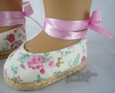 """Floral Print Espadrille Shoes made for 18"""" American Girl Doll Clothes"""