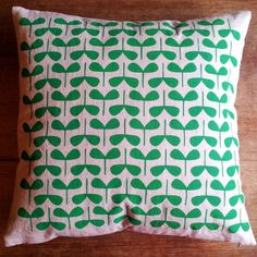 "hand printed and handmade ""Seedlings"" cushion cover by do a bit"