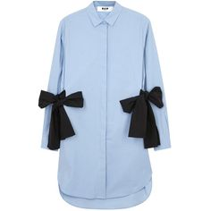 Womens Day Dresses MSGM Blue Bow-embellished Shell Shirt Dress ($510) ❤ liked on Polyvore featuring dresses, msgm, long shirt dress, seashell dress, blue shirt dress and drawstring shirt dress