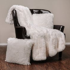 Chanasya Super Soft Shaggy Throw Blanket Pillow Cover Set - Chic Fuzzy Faux Fur Elegant Cozy Fleece Sherpa Throw Two Throw Pillow Covers For Bed Couch Chair Sofa - White Image 1 of 9 Throw Pillow Covers, Throw Pillows, Accent Pillows, Fluffy Blankets, Couch Throws, Sofa Chair, Bed Couch, Thing 1