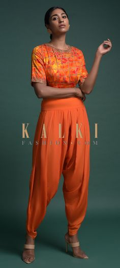 Tangerine orange dhoti in crepe. Paired with a yellow and orange shaded crop top in cotton with checks print. Adorned with sequins and kundan work. Anarkali, Lehenga, Check Printing, Orange, Yellow, Indian Wear, Salwar Kameez, Indian Fashion, Outfit Ideas