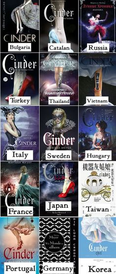 Favorites? Mine are France, Hunary, and Russia. They don't really have anything to do with the story, but they're really pretty • Cinder book covers from different countries || The Lunar Chronicles ~ Linh Cinder, Selene Blackburn, Princess Selene, Queen Selene (instagram||@weare_lunars)