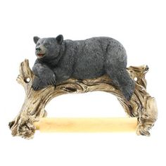 Black Bear Lounging Toilet Paper Holder Decorative Cabin Decor *** You can find more details by visiting the image link. (This is an affiliate link) Bathroom Towel Decor, We Bear, Wall Mounted Toilet, Toilet Roll Holder, Bathroom Accessories Sets, Black Bear, Toilet Paper, Lion Sculpture