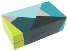 I love this colorful Oblique box. It is perfect for corralling jewelry, note cards and other personal items.