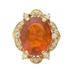 Fire Opal and Diamond Cocktail Ring | 1stdibs.com