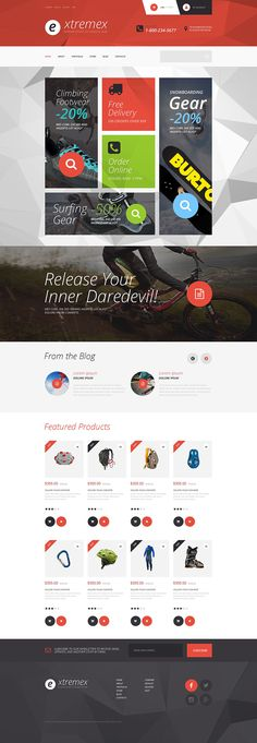 The theme was created to sell clothing and gear for extreme sports. Polygons in the background of this extreme sports WooCommerce theme create an interesting trendy effect. Promo section consists o...